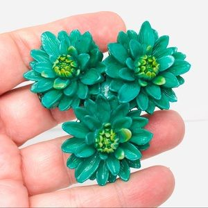 1940s Painted Green Flower Dress Clip Made in USA